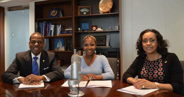 At-Large Councilmember Vincent Orange, Reel Talk with Film DC Host Leslie Green and Secretary of the District of Columbia Lauren Vaughan