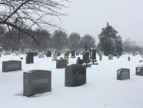 snow-covered headstones in cemetery