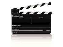 Black and white film slate used in filming